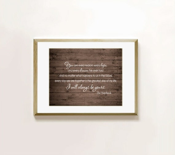 Movie Quotes Wall Art : Famous movie the notebook quote wall art print poster you