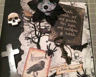 6x6 Handmade Mini scrapbook album-Halloween