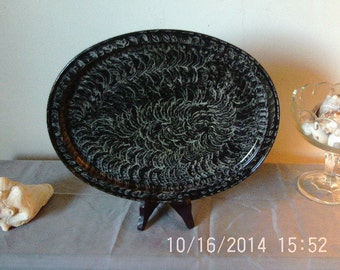 Oval tray vinegar painted in black and white