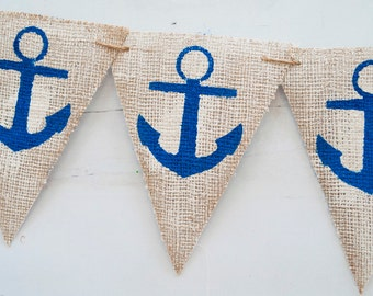 Nautical Anchor Burlap Banner, Nautical Banner, Anchor Banner, Nautical Decor, B103