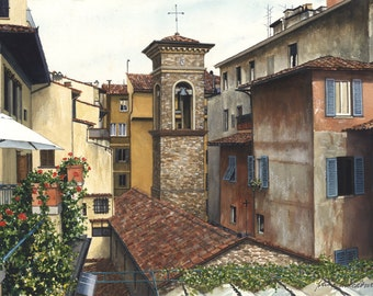 Early Morning - Forence, Italy Watercolor Print