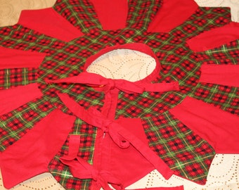 Christmas Tree Skirt Red Plaid Green Table Top Quilted Topper