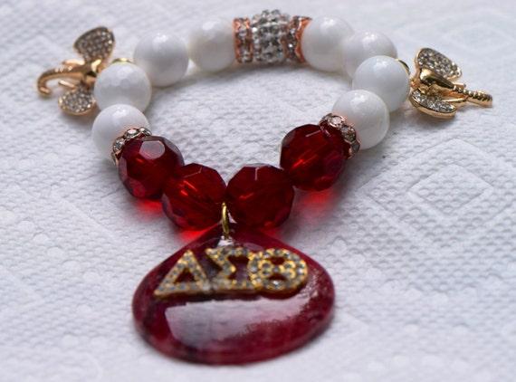 Delta sigma theta sorority beaded bracelet with red druzy for Delta sigma theta jewelry