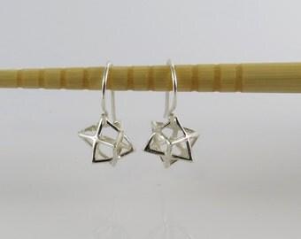 Tiny Merkba earrings , silver merkaba earrings , Tiny silver star earrings , kabala jewelry , 3D Magen david earrings