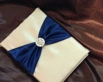 Wedding guest book ivory or white with dark blue