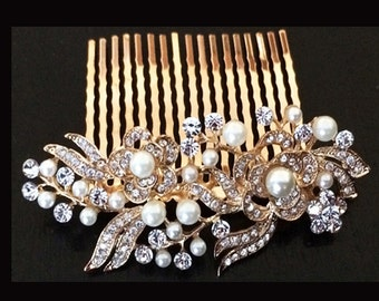 Gold Plated Off-White Ivory Pearl & Austrian Crystal Bridal Hair Comb Wedding Hair Piece Clip Tiara Slide Fascinator Vintage - 05G