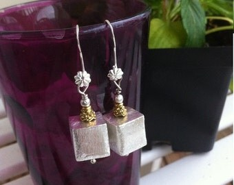 50 PERCENT DISCOUNTSilver Cube Earrings  Silver Sparkle Squares Earrings Brushed Silver Geometric Squares Sterling Silver Cube Earrings