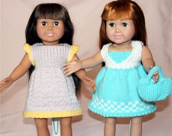 Country Summer Dresses! Knitting Patterns for 18-Inch Dolls, Fits American Girl Dolls - PDF - Instant Download