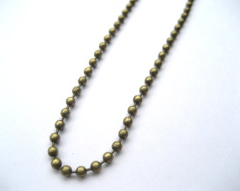 One Antique Brass Ball Chain Necklace 2.4 mm Antique Bronze Ball Chain Necklace , Jewelry Making Supplies