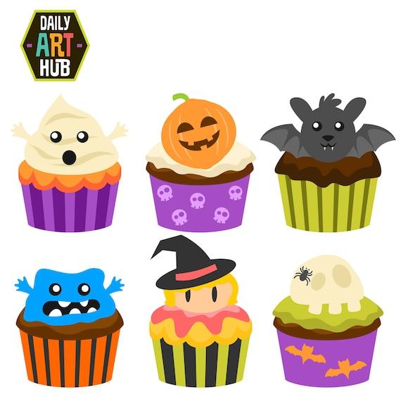 Items similar to Halloween Cupcakes Clip Art, Scary Food ...
