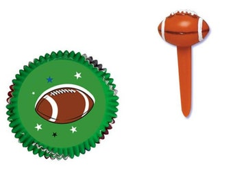 Football Baking Cups with Football Cupcake Picks