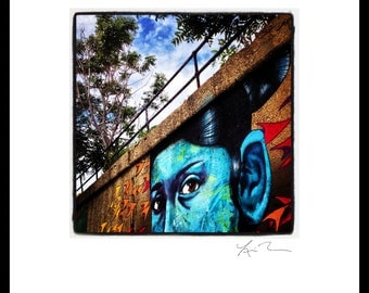 Blue Lady - Photographic Print or Canvas Wrap - Chicago Photography Artwork fine art home decor pilsen mural painting fun urban city eyes