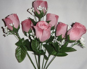 7 Silk Rose Flowers w/Raindrops - Wedding Flowers - Bridal/Floral - Dusty Rose (SRF-SO-705)