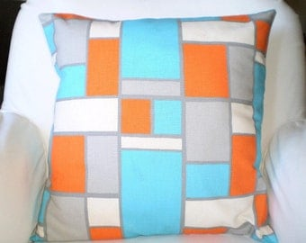 Decorative Throw Pillow Covers, Orange Aqua Gray Natural Throw Pillows, Cushions, Couch Pillows, Hopscotch Geometric One or More All Sizes