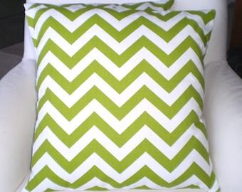 Green Chevron Decorative Throw Pillow Covers, Cushions, Zig Zag Pillow, Couch Pillows, Throw Pillow One Chevron Cushion or More All Sizes
