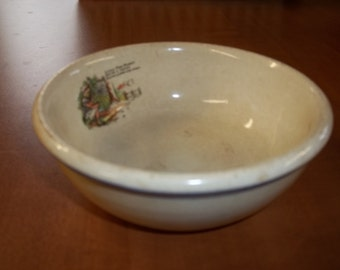"""Collectible rare Roseville Child's """"Little Miss Muffet"""" dish"""