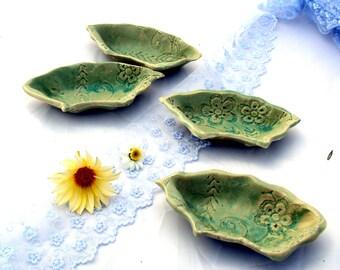 ceramic tapas dish set, Tapas Plates set,  4 Mini Appetizers sets, lace plates, Quarter circle shape, tapas serving set