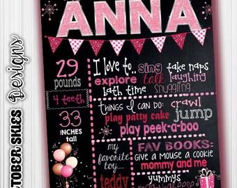 Birthday Chalkboard, Announcement, Glitter Birthday Sign, Custom Figital file, any age