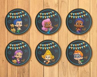 Bubble Guppies Cupcake Toppers Chalkboard * Bubble Guppies Birthday * Bubble Guppies Stickers * Bubble Guppies Favors