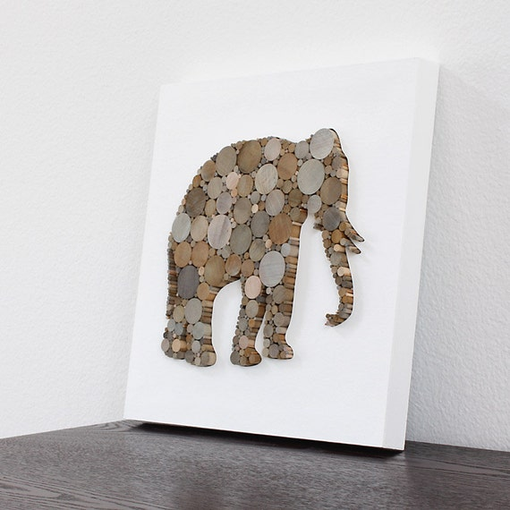 Modern Rustic Wall Decor : Rustic modern wall decor elephant art d by tayberrydecor