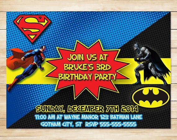 Batman Superman Invitation and Thank You Card - Batman Superman Birthday Party Invites