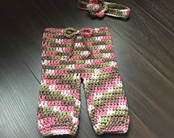Crochet Baby Pink Camo Pant and Headband Set Photo Prop-Made to Order