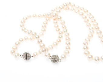 Classic Genuine Cultured 6mm Pearl Strand Necklace with Magnetic Crystal Clasp
