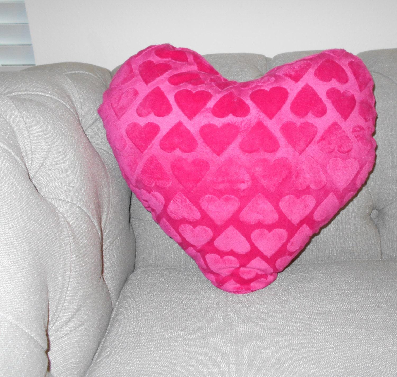 hot pink heart pillow decorative pillow girls by ArtbeautybyMH