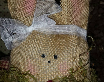 Primitive/Vintage/Rustic Burlap Easter Spring Bunny Rabbit