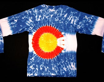 Tie Dye Colorado Flag Long Sleeve Shirt Made By Mandala Dyes