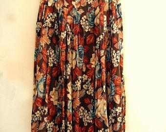 Vintage 80s floral midi skirt 1980s