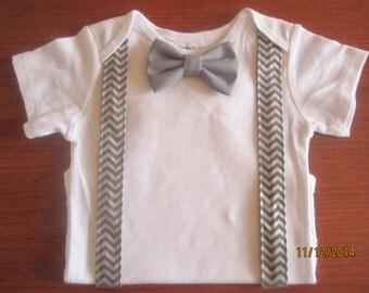 Boy gray chevron suspender shirt, Boy turquoise bow tie shirt, Boy gray bow tie shirt, boy gray chevron outfit, boy suspender bow tie outfit