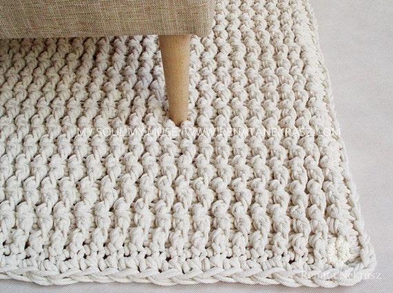 ecri cordon en coton tapis rectangulaire tapis au crochet. Black Bedroom Furniture Sets. Home Design Ideas