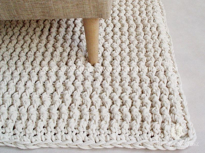 Ecri cotton cord rectangular rug crochet rug crochet for Floor knitting