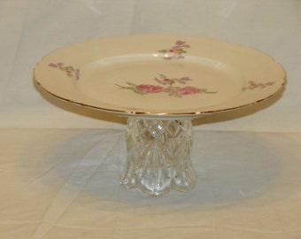 Beautiful Handmade Vintage Serving Platter Floral Design
