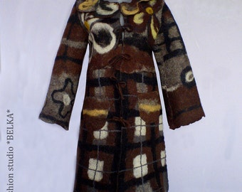 Woman felted art coat