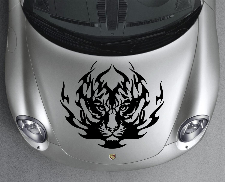sticker decal de tigre tribal capot capot voiture par directdecals. Black Bedroom Furniture Sets. Home Design Ideas
