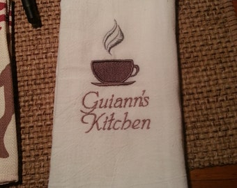 Flour sack embroidered dish towel