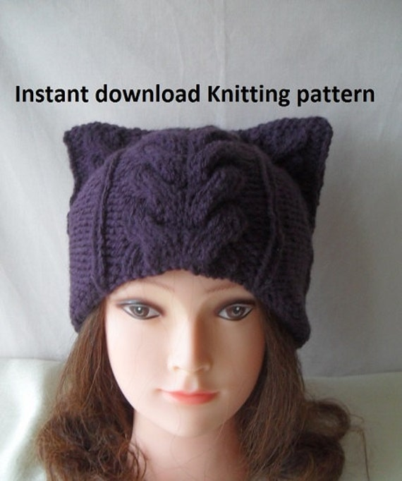 Cat Hat Knitting Pattern : Instant Download knitting pattern/ Cat hat by MyOublawness on Etsy