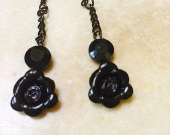 Black Rose dangle Earrings Cute