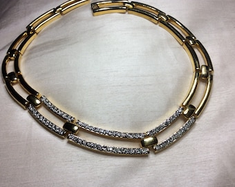 Vintage gold tone and diamente linked necklace