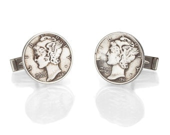 Hand Made Mercury Dime Sterling Silver Men's Cufflinks