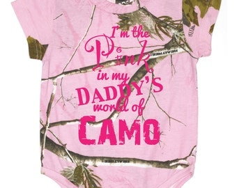 Pink in my daddy's world of camo Creeper, Bright Pink Design, infant, baby,outdoors - 036