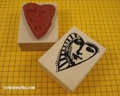 Shining Heart Face Stamp / Invoke Arts Collage Rubber Stamps