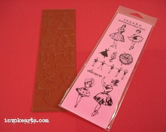 SALE / Ballerina / Invoke Arts Collage Rubber Stamps / Unmounted Rubber Stamp