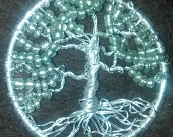 Silver Wire Wrapped Tree of Life Pendant with Green Beading Pendant
