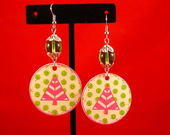 Funky Contemporary Christmas Tree Earrings