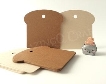 Bread Paper Tags -Brown / Dark Brown color -Cardstock Paper Hang Tags - Set of 50