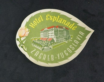 "Label hotel for luggage from ""HOTEL ESPLANADE"" in Zagreb, Yugoslavia. Year 1950"