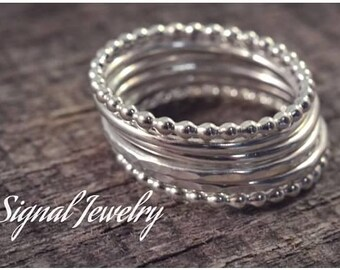 Sterling silver bubble stack set - thick sterling silver six seperate 16 guage rings - 2 bubble, 2 hammered, 2 smooth thick stack